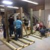 Junior Construction students work on the benches.: Gallery Image 1
