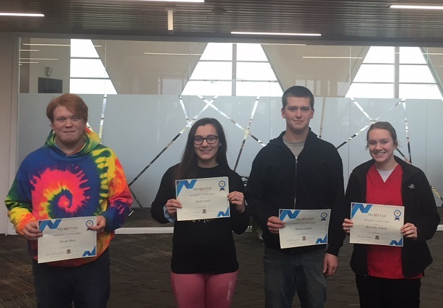 Pictured with their certificate are, left to right:  Jacob Hole, Stella Fear, Shane Lefeld, and Miranda Scheib: Featured Image 1