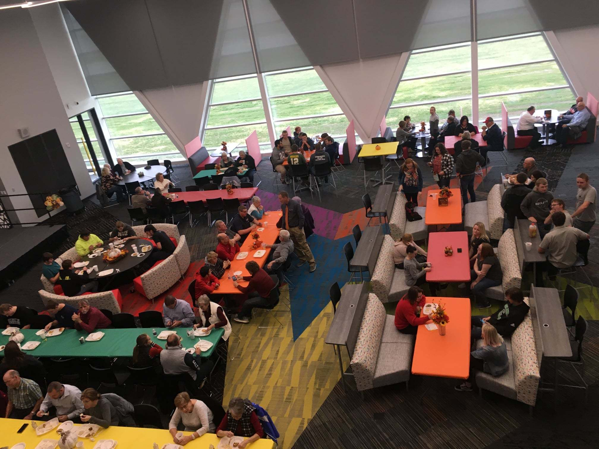 Bird's eye view of the student commons during the Thanksgiving Meal.: Featured Image 1